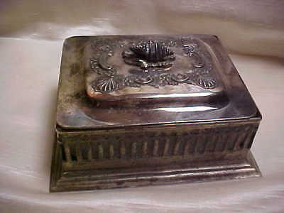 Vintage Mango Electro Silver Plate Box w/Lid and White Satin Glass Insert Candy