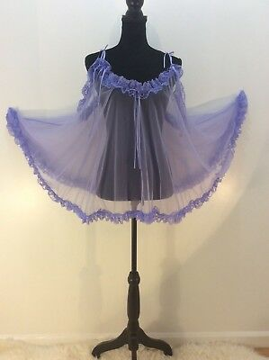 2X Sheer Purple Nylon Chiffon Babydoll Teddy Negligee Ruffles Bows Lace OSFM