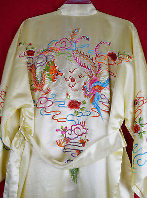 Vintage Chinese Dragon Robe 40s 50s Phoenix Embroider Embroidered souvenir
