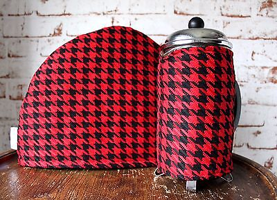 Retro Tea & Coffee Cosy Set~Red Houndstooth/Housewarming/Cafetiere/60s/Vintage