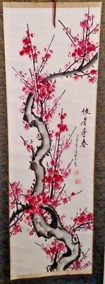 Vintage Chinese Wall Hanging Scroll Cherry Blossom Tree Silk Painting Asian Art