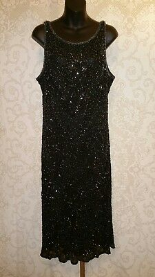 Scala 100% Silk Black Beaded Cocktail Evening Dress Sz 2X #2902