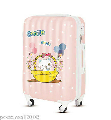 "28"" TSA Lock Universal Wheel Pink Cartoon Cat ABS+PC Travel Suitcase Luggage"