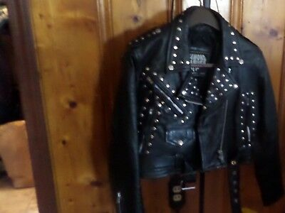 Vintage Womans Large quilted Diamond Leather biker jacket