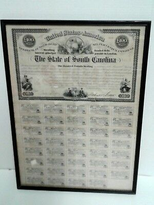 South Carolina Bonds Framed 221/2 × 16