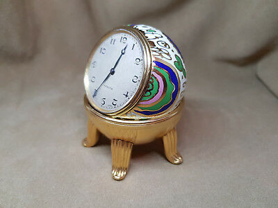 Rare Antique Zenith Ball Clock Enamel Silver Dial With Stand