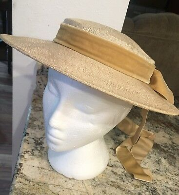TRUE Vintage Lades Wide Brim Straw Hat Ivory with Velvet Ribbon EUC SUSSY NY
