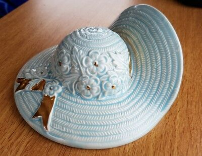 Vintage Ceramic Straw Hat Wall Hanging Pocket Vase - Pale Blue 22kt Gold Details
