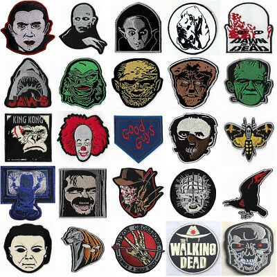 Horror Patches Iron / Sew On Badges Retro Cult Slasher Movie Film Costume Rare