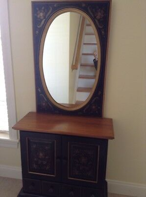 ETHAN ALLEN Hitchcock Style Black Stenciled Console Table With Mirror 1970's EUC