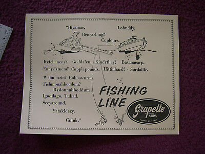 "Original Grapette Soda ""Fishing Line"" Sheet Camden Arkansas Advertising"