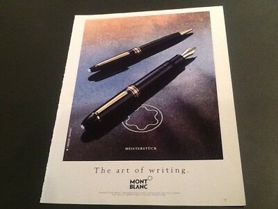 1991 Vintage Magazine Print AD for MONT BLANC Pen Art of Writing