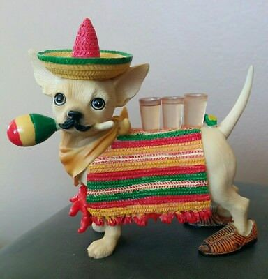 Aye Chihuahua Sombrero Tequila Mexico Figurine Rare Retired *Free Shipping MINT