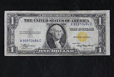 $1 1935A North Africa yellow seal silver cert. R95970484C one dollar FREE SHIP.