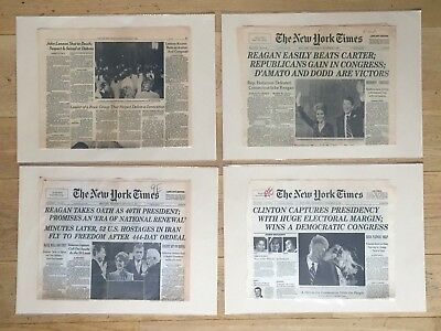 3x Titelblatt New York Times | Reagan, John Lennon killed, Clinton, 80er, 90er