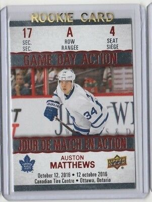 2017-18 Tim Hortons Austin Matthews Game Day Action Toronto Maple Leafs