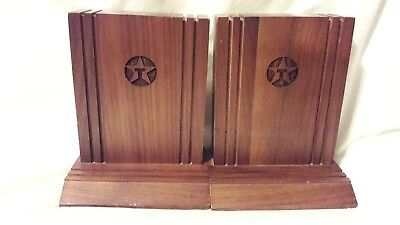 Vintage Pair of Texaco Wooden Bookends / Book Ends Rare