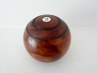 Vintage antique British lawn solid wood bowling ball petanque boules