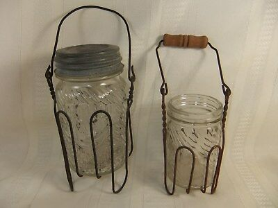 LOT of 2 VINTAGE JUMBO PEANUT BUTTER GLASS JAR 1 lb & 7 oz in WIRE HOLDERS
