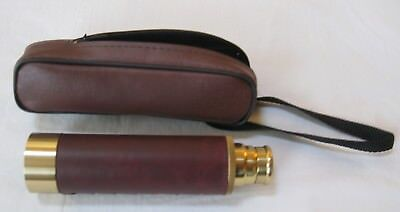 Vintage Nice Hand Held Brass Telescope Nautical Spyglass with Case