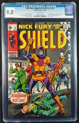 Nick Fury Agent of SHIELD #15 CGC 9.0! 1st Appearance of Bullseye! (Marvel 1969)