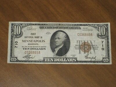 1929 Type 1 $10 National Bank Note - First NB Minneapolis Minnesota #710