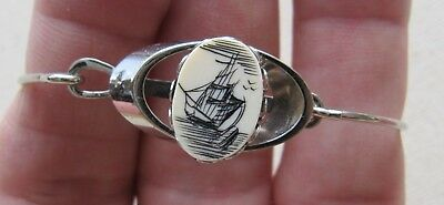 Sweet Dainty Vintage Faux Scrimshaw Etched Top Thin Bangle Tall Ship Design