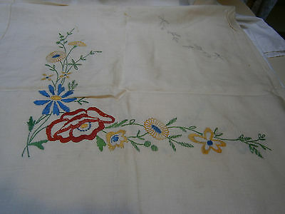 Vintage Linen  Embroidery Tablecloth To Complete (Half Worked) - Floral Design