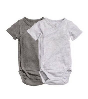 H&M HM One Piece Bodysuit Set Of Two 2-4 Month Organic Cotton Gray