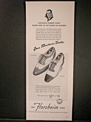 Vintage 1941 Florsheim Shoes Ad...Know How To Get Down To Business.