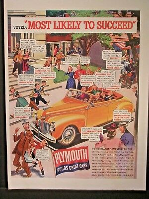 Vintage 1941 Plymouth Ad....Most Likely To Succeed * .