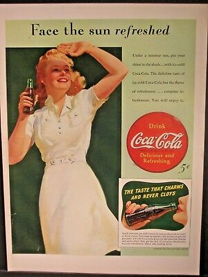 Vintage 1941 Coca Cola Ad...Face The Sun Refreshed.