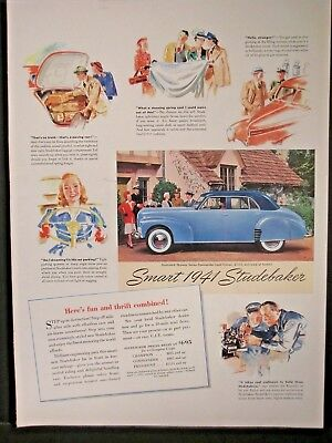 Vintage 1941 Studebaker Ad....Here Fun And Thrift Combine.