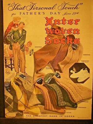 Vintage 1941 Interwoven Socks Ad...That Personal Touch.