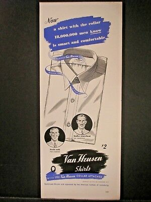 Vintage 1941 Van Heusen Shirts Ad...Looks Starched Feels Soft.