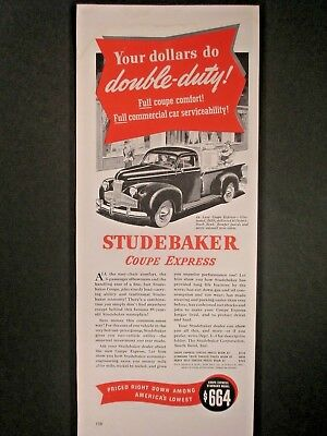 Vintage 1941 Studebaker Coupe Express Ad ...Your Dollars Due Double Duty.