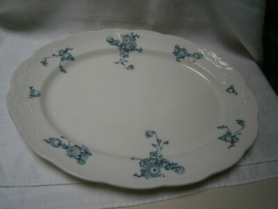 Large 46.5Cm Antique  Meat Serving Plate With Blue & White Floral Design.