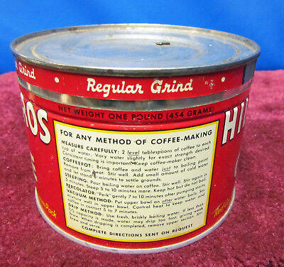 Vintage Hills Bros 1 LB. Coffee Can with Lid Copyright 1939-42-45