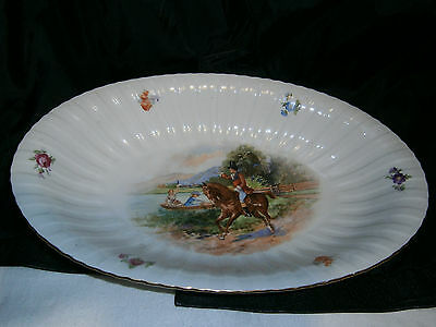 Large Vintage Schumann Bavaria Fruit Bowl Plate- English Victorian Scene - Horse