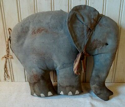 Primitive Grungy Elliot the Elephant Doll made with 113 year old Pattern