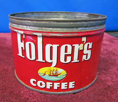Vintage 1952 - Folgers 1 lb. Coffee Can - No Lid; Great Graphics