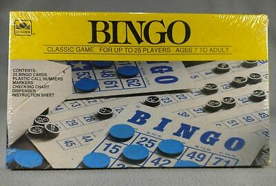 Vintage GOLDEN 25-Card Deluxe Edition Bingo Games Up to 25 Players ages 7+ S1E1