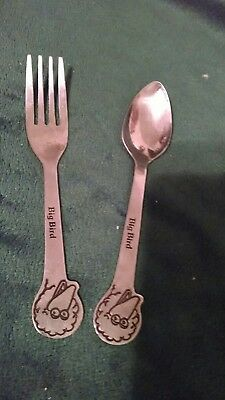 Vintage Demand Muppets Stainless Big Bird Youth Utensil Set  Fork Spoon