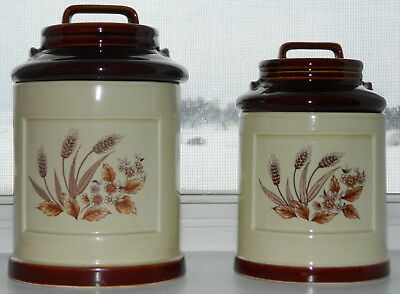 Set 2 Milk Can Ceramic Canisters Made In Japan Vintage Wheat Design