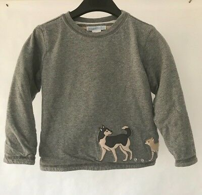 Janie and Jack Boys Gray Long Sleeve 100% Cotton Shirt With Husky Dogs Size 2T