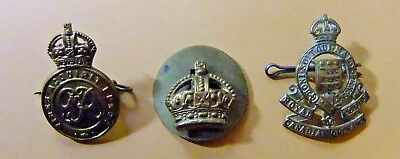 Lot of 3 WWII Canadian Military Cap Badges
