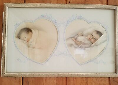 "Exquisite Antique 1932 Double Framed Print ""a Little Dream"" & ""heavens Gift"""