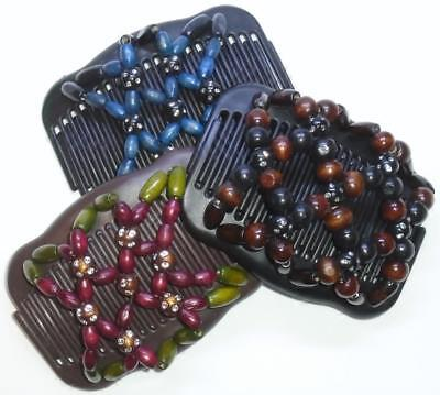 """Set of 3 Double Hair Combs, Angel Wings Clips 4x3.5"""",African Butterfly, STYLE!"""