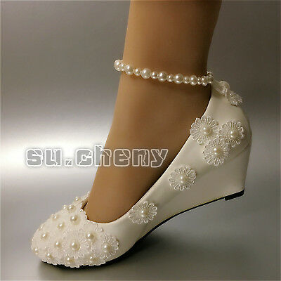 78700433274e su.cheny Lace white ivory pearls flats low high heel pumps Wedding Bridal  shoes