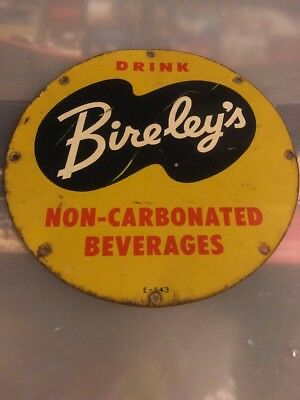 Vintage 1950's Advertising Bireley's Non-carbonated Metal Sign - 9""